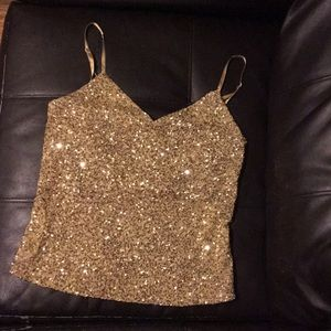 The Limited gold sequins tank top